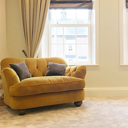 ww/assets/images/far/customer images/3 Fairmont Snuggler in Warwick Plush Turmeric