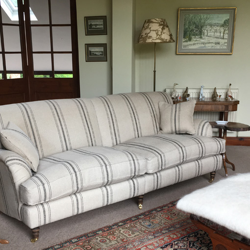 ww/assets/images/kll/customer images/5 Kentwell 2 Hump 3 Seater Sofa in Fleming Black Stripe Stripe