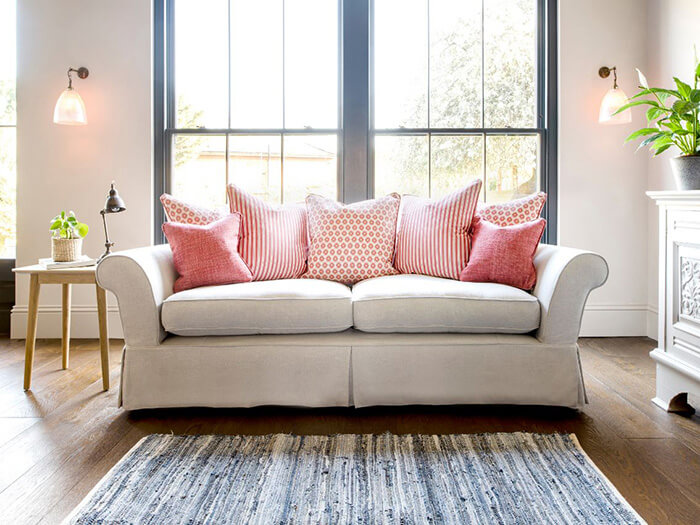 2 Lanhydrock 3 Seater Sofa in Seater Sofa in  with Jane Churchhill Mixed Coral Scatters