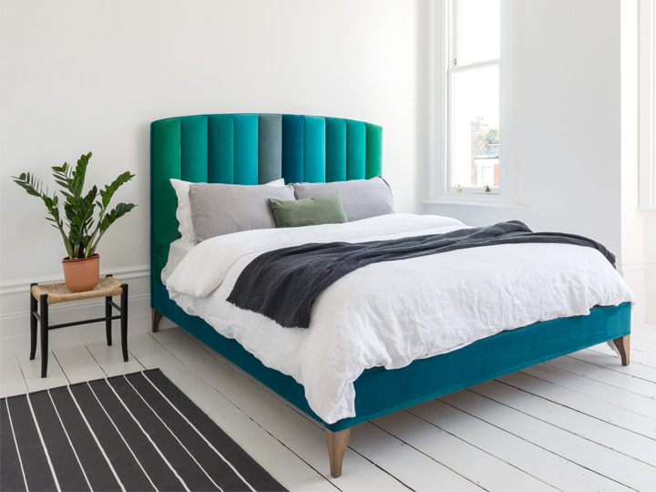 1 Redchurch King Bed in Portland Velvets Mixed Teal