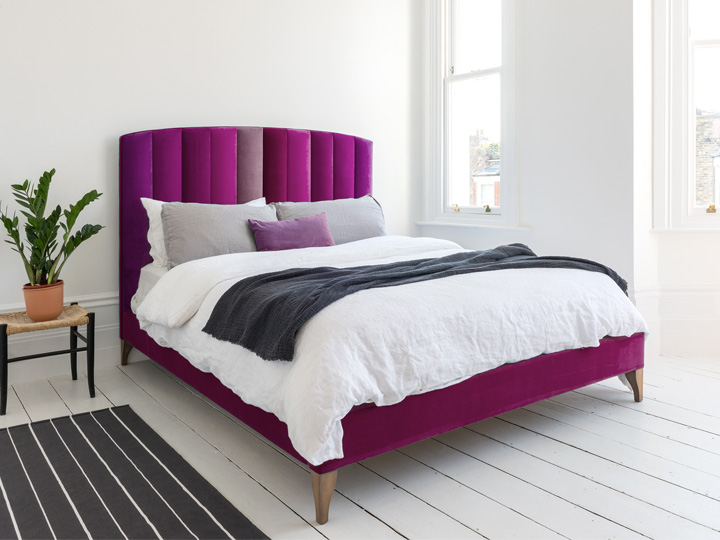 2 Redchurch King Bed in Portland Velvet Mixed Pink & Purple